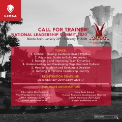 CALL FOR TRAINER - NATIONAL LEADERSHIP SUMMIT 2020