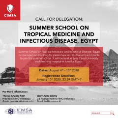 CALL FOR DELEGATION: SUMMER SCHOOL ON TROPICAL MEDICINE AND INFECTIOUS DISEASES, EGYPT