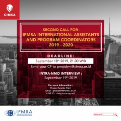 SECOND CALL FOR IFMSA INTERNATIONAL ASSISTANTS AND PROGRAM COORDINATORS 2019-2020