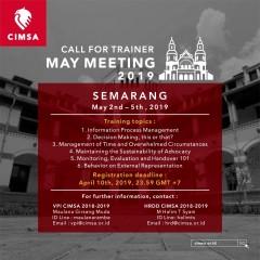 CALL FOR TRAINER : MAY MEETING CIMSA 2019 SEMARANG