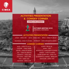 ACTIVITIES PRESENTATION & COMDEV CORNER - OCTOBER MEETING 2018