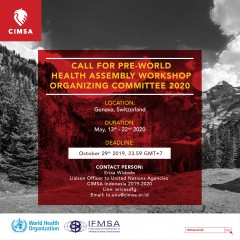 CALL FOR PRE-WORLD HEALTH ASSEMBLY WORKSHOP ORGANIZING COMMITTEE 2020