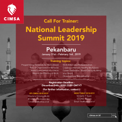 CALL FOR TRAINER : NATIONAL LEADERSHIP SUMMIT 2019