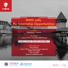 WHO CALLS FOR INTERNSHIP OPPORTUNITIES FOR THE PERIOD OF JANUARY TO JUNE 2020
