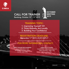 CALL FOR TRAINER - OCTOBER MEETING 2019