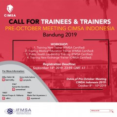 CALL FOR TRAINEES & TRAINERS OF PRE-OM WORKSHOP CIMSA 2019
