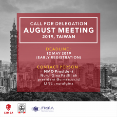 CALL FOR DELEGATION : AUGUST MEETING 2019 TAIWAN