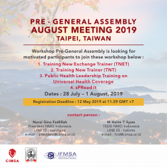 PRE-GENERAL ASSEMBLY AUGUST MEETING 2019, TAIWAN