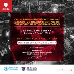 CALL FOR IFMSA DELEGATION TO THE 146th EXECUTIVE BOARD MEETING OF THE WORLD HEALTH ORGANIZATION