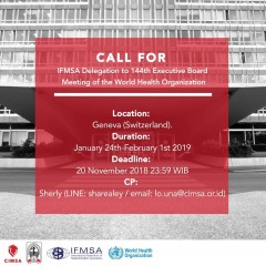 image CALL FOR IFMSA Delegation to 144th Executive Board Meeting of the World Health Organization