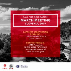 CALL FOR DELEGATION MARCH MEETING SLOVENIA 2019 - LATE SEAT